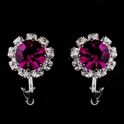 Silver Fuchsia & Clear Round Rhinestone Pierced Stud Earrings 1442