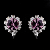 Silver Light Amethyst & Clear Round Rhinestone Clipped Stud Earrings 1442