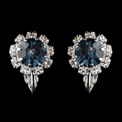 Silver Navy & Clear Round Rhinestone Pierced Stud Earrings 1442