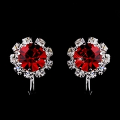 Silver Red & Clear Round Rhinestone Pierced Stud Earrings 1442