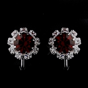 Silver Ruby & Clear Round Rhinestone Pierced Stud Earrings 1442