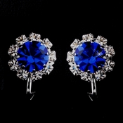 Silver Sapphire & Clear Round Rhinestone Clipped Stud Earrings 1442