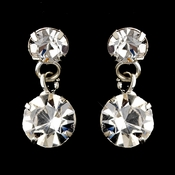 Silver Clear Round Drop Earrings 1463