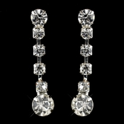 Silver Clear Round Rhinestone Drop Earrings 1466