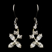 Silver Clear Round & Marquise Rhinestone Drop Earrings 1520