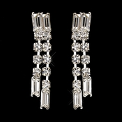 Silver Clear Baguette Rhinestone Dangle Earrings 1611