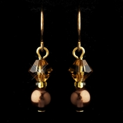Gold Brown Czech Glass Pearl & Swarovski Crystal Bead Earrings 2031