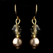Gold Light Brown Czech Glass Pearl & Swarovski Crystal Bead Earrings 2031