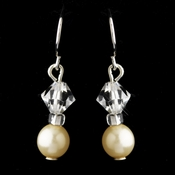 Silver Ivory Czech Glass Pearl & Swarovski Crystal Bead Earrings 2031