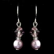 Silver Light Amethyst Czech Glass Pearl & Swarovski Crystal Bead Earrings 2031