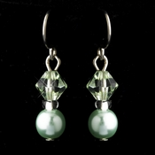 Silver Peridot Czech Glass Pearl & Swarovski Crystal Bead Earrings 2031