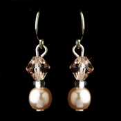Silver Pink Czech Glass Pearl & Swarovski Crystal Bead Earrings 2031