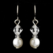 Silver White Czech Glass Pearl & Swarovski Crystal Bead Earrings 2031