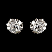 Silver Clear Round Rhinestone Stud Earrings 2052