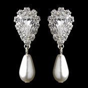 Silver White Pearl & Clear Teardrop Rhinestone Dangle Earrings 2214