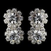 Silver Clear Round Rhinestone Pierced Earrings 2221