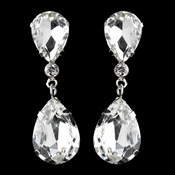 Silver Clear Teardrop Pierced Dangle Earrings 2233