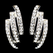 Silver Clear Pave Half Hoop Three Row Rhinestone Earrings 2324