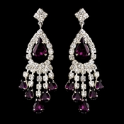 Silver Amethyst Teardrop & Clear Round Rhinestone Chandelier Earrings 2479