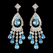 Silver Aqua Teardrop & Clear Round Rhinestone Chandelier Earrings 2479