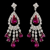 Silver Fuchsia Teardrop & Clear Round Rhinestone Chandelier Earrings 2479