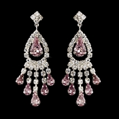 Silver Light Amethyst Teardrop & Clear Round Rhinestone Chandelier Earrings 2479