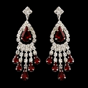 Silver Red Teardrop & Clear Round Rhinestone Chandelier Earrings 2479