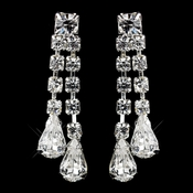 Silver Clear Two Row Teardrop & Round Rhinestone Dangle Earrings 2559