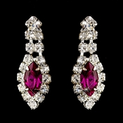 Silver Fuchsia Marquise & Clear Round Rhinestone Earrings 2624