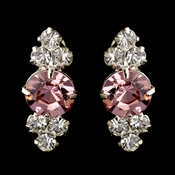Silver Pink & Clear Round Rhinestone Earrings 2876