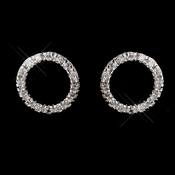 Antique Silver Rhodium Clear Rhinestone Circle Earrings 3688
