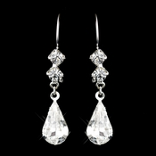 Silver Clear Teardrop & Diamond Shaped Rhinestone Dangle Earrings 3721
