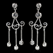 Silver Clear Rhinestone Chandelier Dangle Earrings 3973