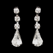 Silver Clear Round & Teardrop Earrings 4012-3