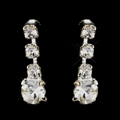 Silver Clear Round Rhinestone Drop Earrings 4012-4