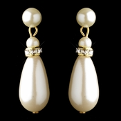 Gold Ivory Glass Pearl & Clear Rhinestone Rondelle Drop Clipped Earrings 4691