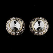 Gold Clear Rhinestone Rondelle Pierced Stud Earrings 4712