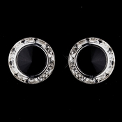 Silver Black Rhinestone Rondelle Pierced Stud Earrings 4712
