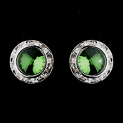 Silver Emerald Rhinestone Rondelle Clipped Stud Earrings 4712