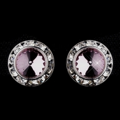 Silver Light Amethyst Rhinestone Rondelle Clipped Stud Earrings 4712