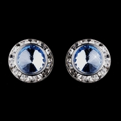 Silver Light Blue Rhinestone Rondelle Pierced Stud Earrings 4712