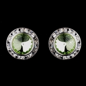 Silver Peridot Rhinestone Rondelle Pierced Stud Earrings 4712