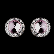 Silver Pink Rhinestone Rondelle Pierced Stud Earrings 4712