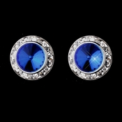 Silver Sapphire Rhinestone Rondelle Clipped Stud Earrings 4712