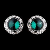 Silver Teal Rhinestone Rondelle Pierced Stud Earrings 4712