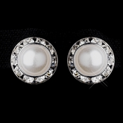 Silver White Pearl & Clear Rhinestone Rondelle Clipped Stud Earrings 4712