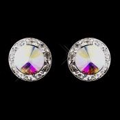 Silver AB Rhinestone Clipped Stud Button Earrings 4722