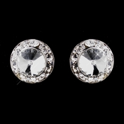Silver Clear Rhinestone Clipped Stud Button Earrings 4722