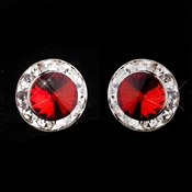 Silver Red Rhinestone Pierced Stud Button Earrings 4722