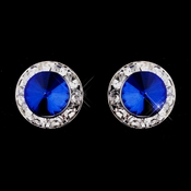 Silver Sapphire Rhinestone Clipped Stud Button Earrings 4722